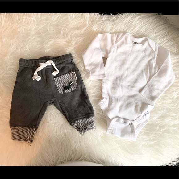 Kids Joggers + Long Sleeve Onesie Set | 6-9 Month